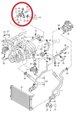 Схема расположения тройника в двигателе Шкода Октавия