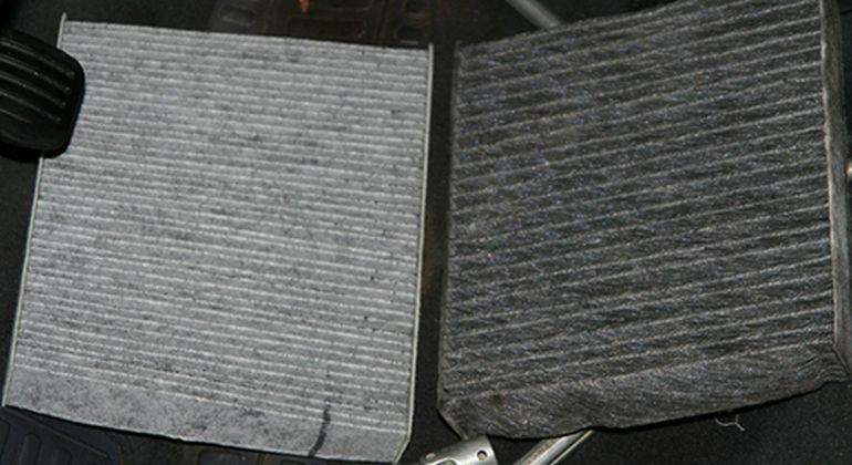 Сравнение нового и старого фильтра салона Форд Фиеста
